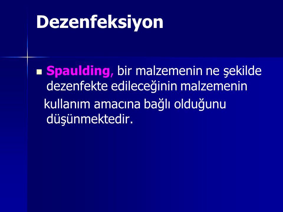 Dezenfeksiyon Spaulding, bir malzemenin ne şekilde dezenfekte edileceğinin malzemenin.