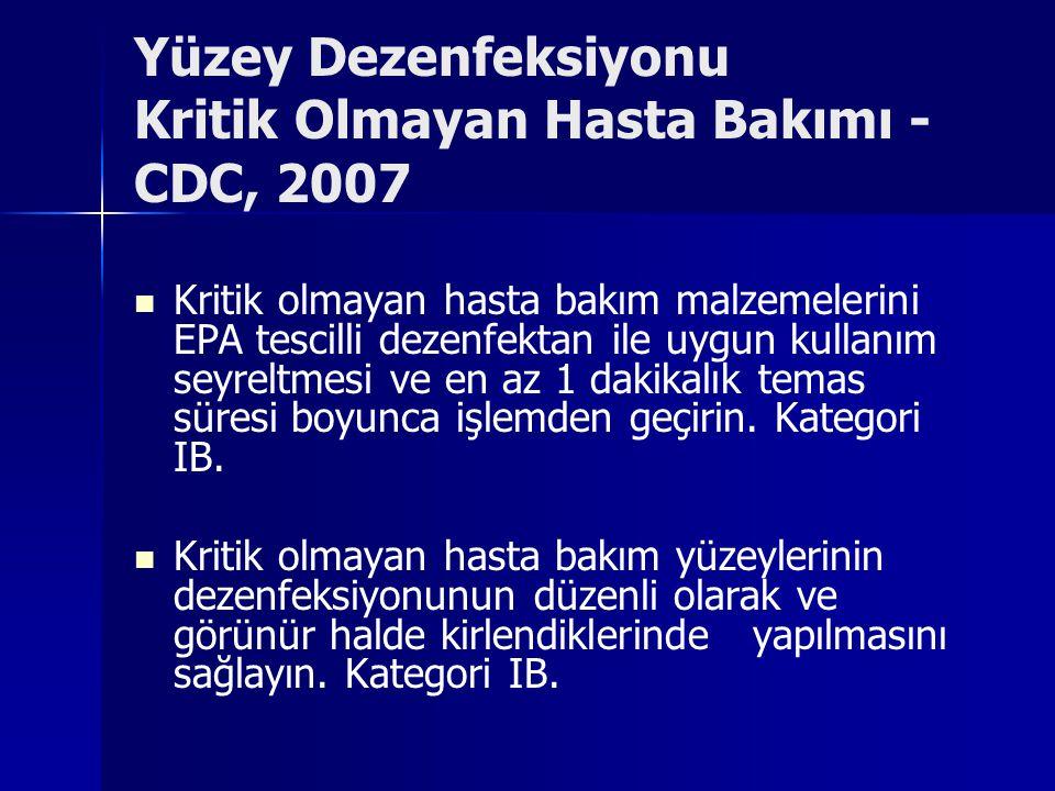 Yüzey Dezenfeksiyonu Kritik Olmayan Hasta Bakımı - CDC, 2007