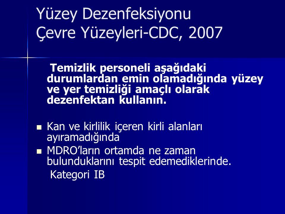 Yüzey Dezenfeksiyonu Çevre Yüzeyleri-CDC, 2007
