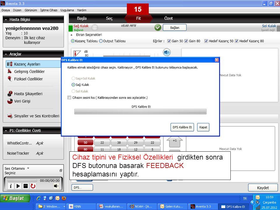 15 Cihaz tipini ve Fiziksel Özellikleri girdikten sonra DFS butonuna basarak FEEDBACK hesaplamasını yaptır.