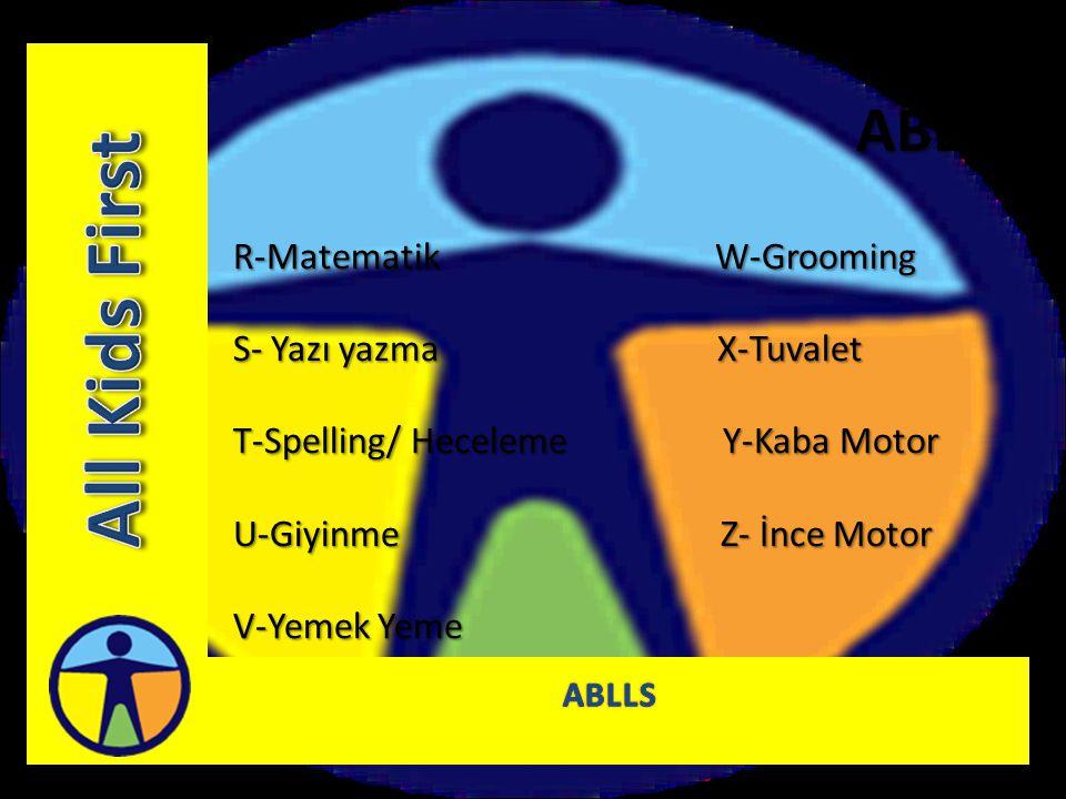 All Kids First ABLLS R-Matematik W-Grooming S- Yazı yazma X-Tuvalet