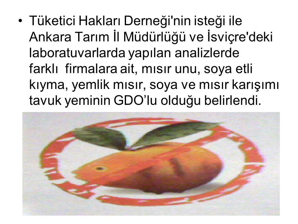 Tüketici Hakları Derneği nin isteği ile Ankara Tarım İl Müdürlüğü ve İsviçre deki laboratuvarlarda yapılan analizlerde farklı firmalara ait, mısır unu, soya etli kıyma, yemlik mısır, soya ve mısır karışımı tavuk yeminin GDO'lu olduğu belirlendi.