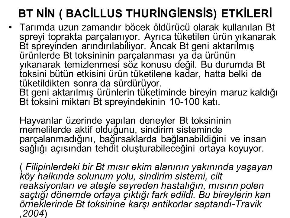 BT NİN ( BACİLLUS THURİNGİENSİS) ETKİLERİ