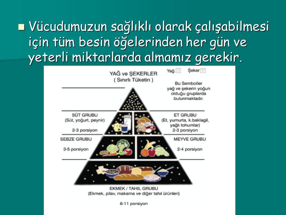 Vücudumuzun sağlıklı olarak çalışabilmesi için tüm besin öğelerinden her gün ve yeterli miktarlarda almamız gerekir.