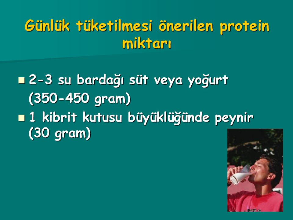 Günlük tüketilmesi önerilen protein miktarı