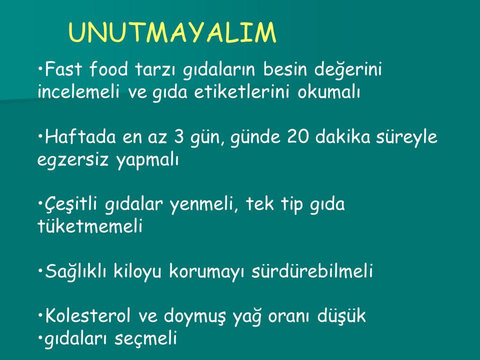 UNUTMAYALIM Fast food tarzı gıdaların besin değerini incelemeli ve gıda etiketlerini okumalı.