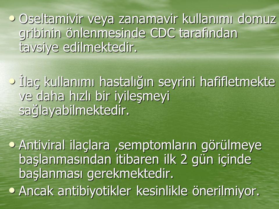 Oseltamivir veya zanamavir kullanımı domuz gribinin önlenmesinde CDC tarafından tavsiye edilmektedir.