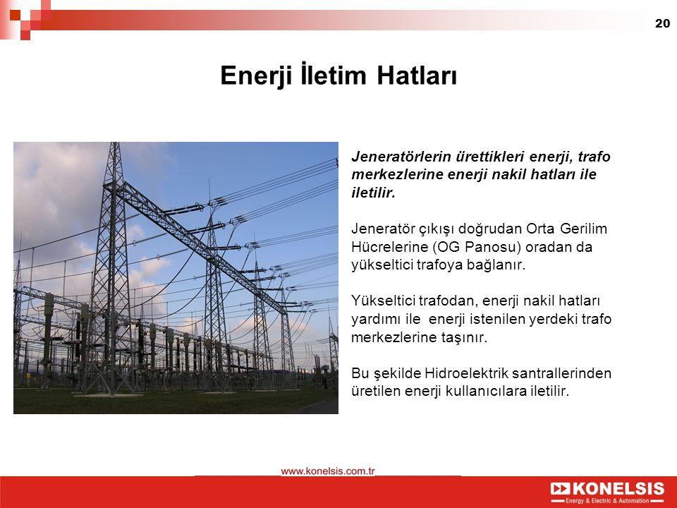 Enerji İletim Hatları Jeneratörlerin ürettikleri enerji, trafo