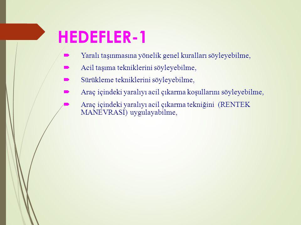 HEDEFLER-1 Yaralı taşınmasına yönelik genel kuralları söyleyebilme,