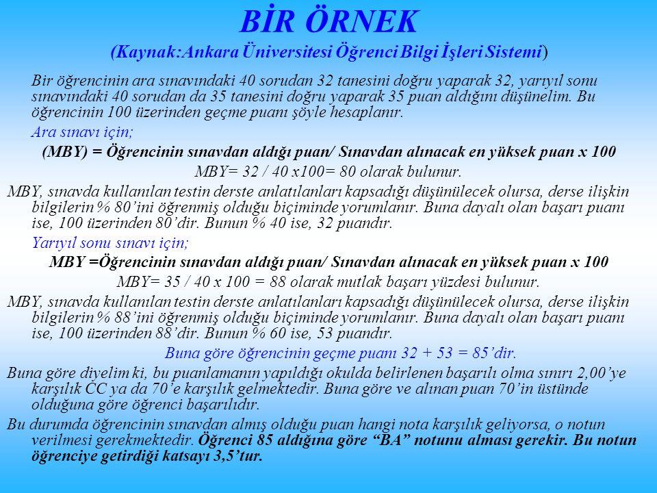 BİR ÖRNEK (Kaynak:Ankara Üniversitesi Öğrenci Bilgi İşleri Sistemi)