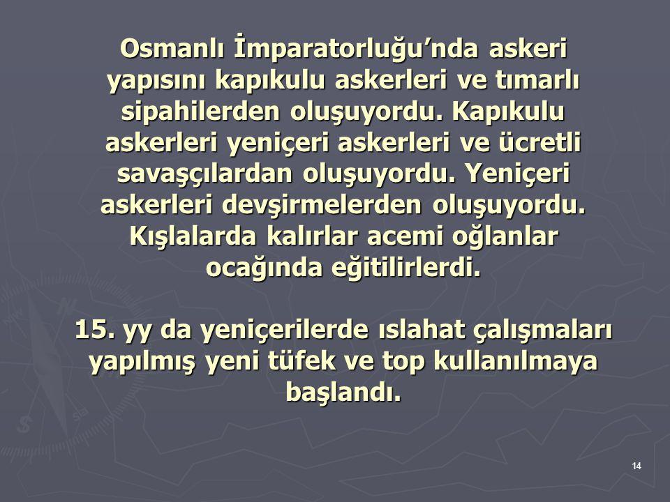 Osmanlı İmparatorluğu'nda askeri yapısını kapıkulu askerleri ve tımarlı sipahilerden oluşuyordu.