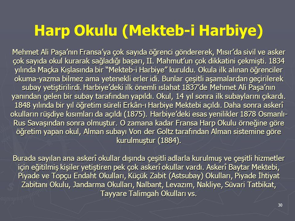 Harp Okulu (Mekteb-i Harbiye) Mehmet Ali Paşa'nın Fransa'ya çok sayıda öğrenci göndererek, Mısır'da sivil ve asker çok sayıda okul kurarak sağladığı başarı, II.