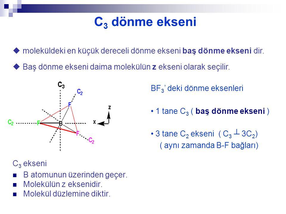 C3 dönme ekseni  moleküldeki en küçük dereceli dönme ekseni baş dönme ekseni dir.  Baş dönme ekseni daima molekülün z ekseni olarak seçilir.