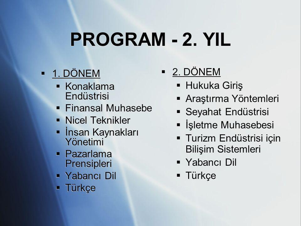 PROGRAM - 2. YIL 1. DÖNEM Konaklama Endüstrisi Finansal Muhasebe