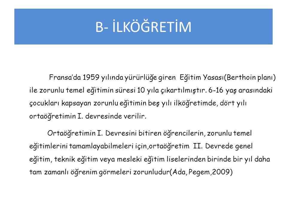 B- İLKÖĞRETİM