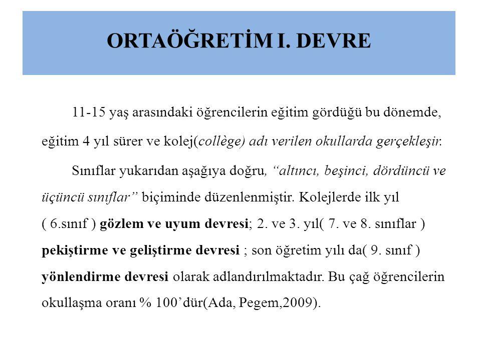 ORTAÖĞRETİM I. DEVRE