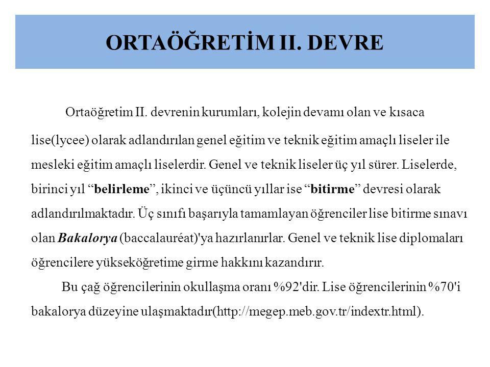 ORTAÖĞRETİM II. DEVRE