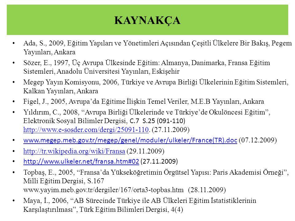 KAYNAKÇA Ada, S., 2009, Eğitim Yapıları ve Yönetimleri Açısından Çeşitli Ülkelere Bir Bakış, Pegem Yayınları, Ankara.