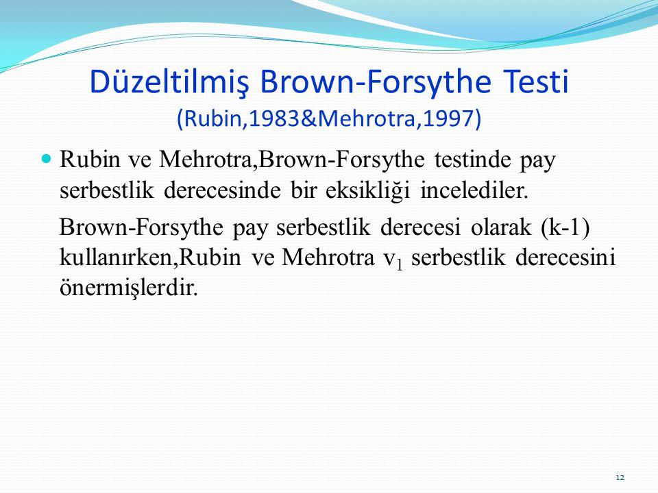 Düzeltilmiş Brown-Forsythe Testi (Rubin,1983&Mehrotra,1997)