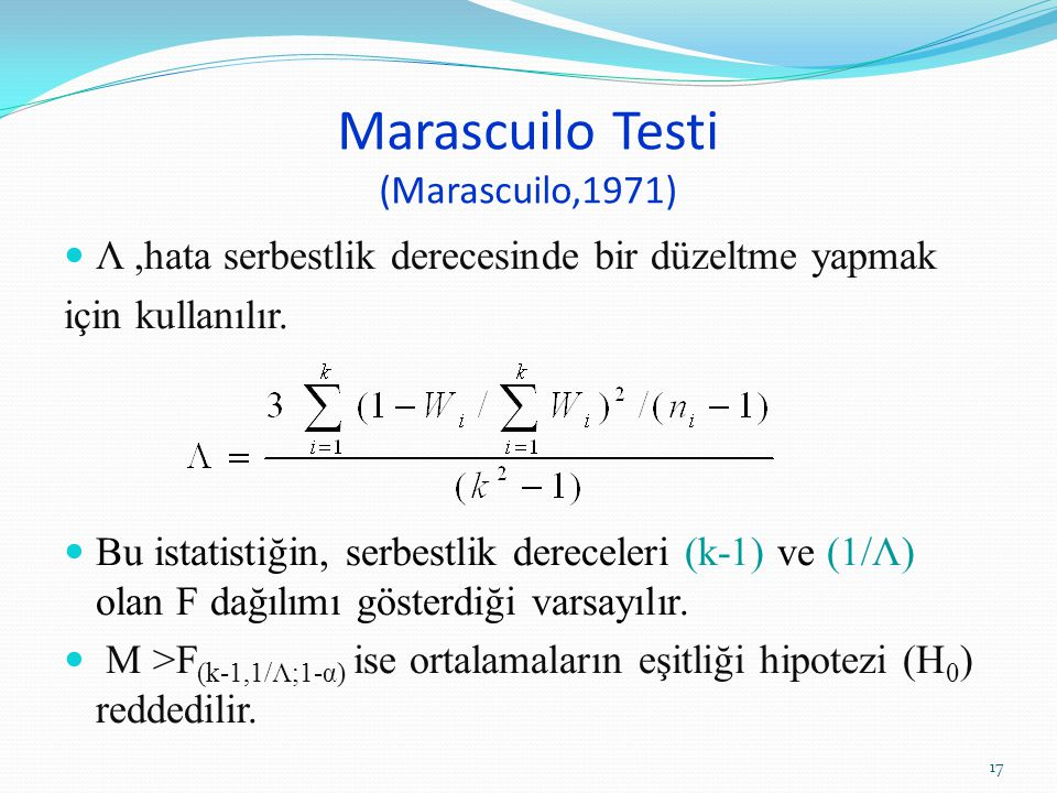 Marascuilo Testi (Marascuilo,1971)