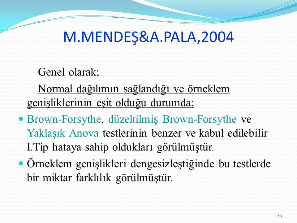 M.MENDEŞ&A.PALA,2004 Genel olarak;