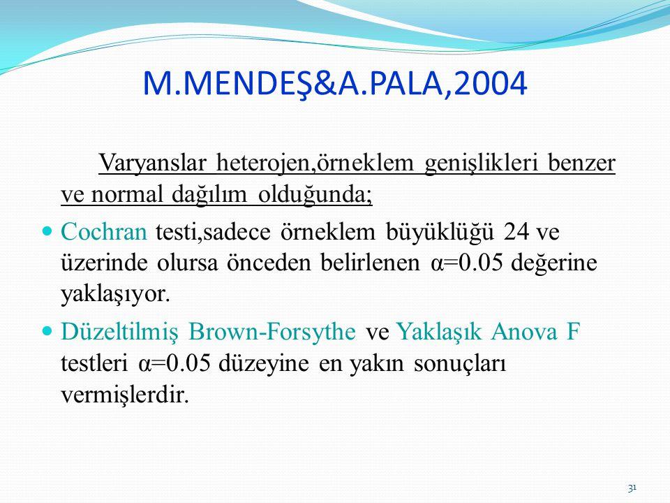 M.MENDEŞ&A.PALA,2004 Varyanslar heterojen,örneklem genişlikleri benzer ve normal dağılım olduğunda;