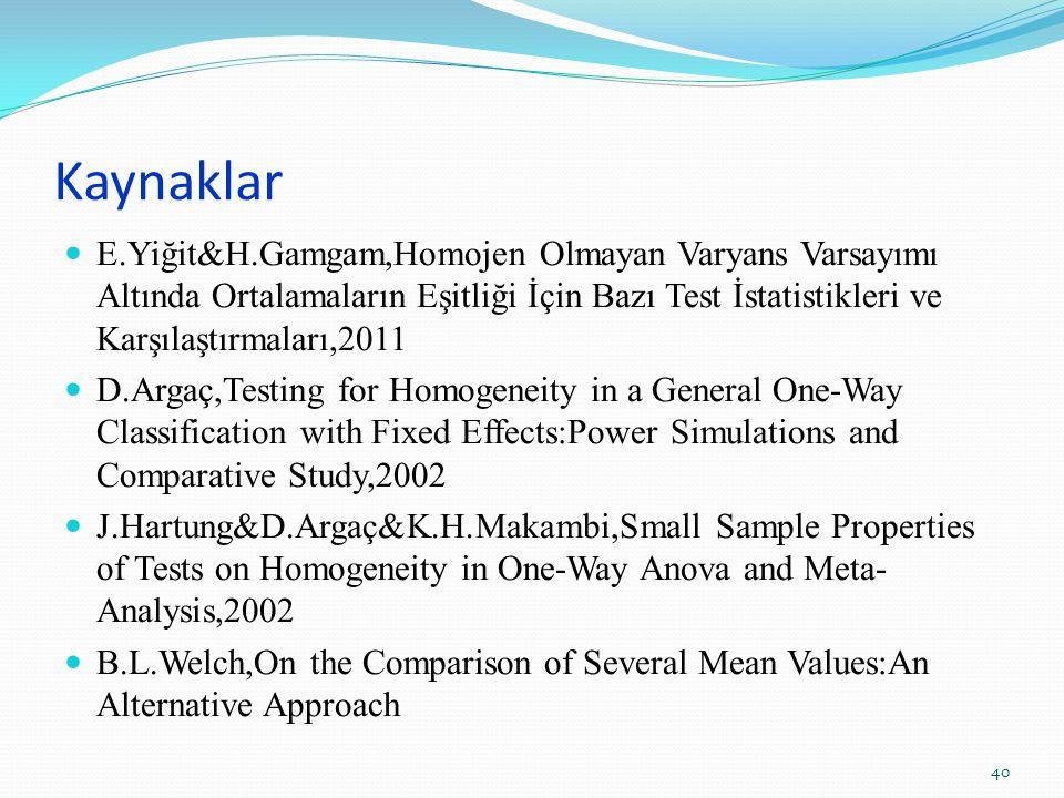 Kaynaklar E.Yiğit&H.Gamgam,Homojen Olmayan Varyans Varsayımı Altında Ortalamaların Eşitliği İçin Bazı Test İstatistikleri ve Karşılaştırmaları,2011.