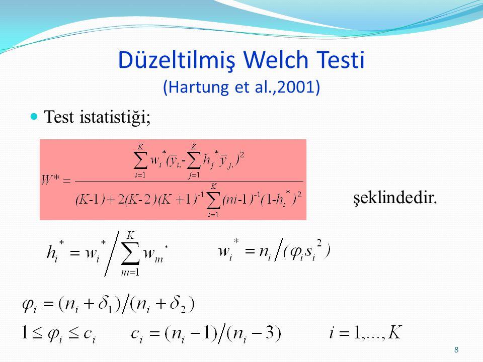 Düzeltilmiş Welch Testi (Hartung et al.,2001)