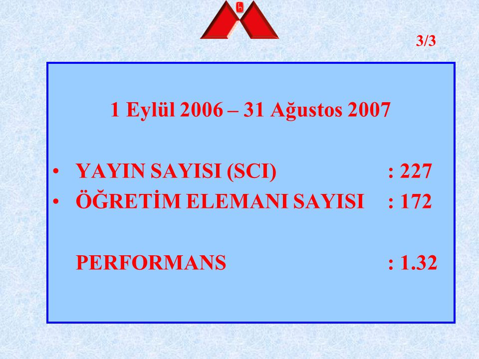 ÖĞRETİM ELEMANI SAYISI : 172 PERFORMANS : 1.32