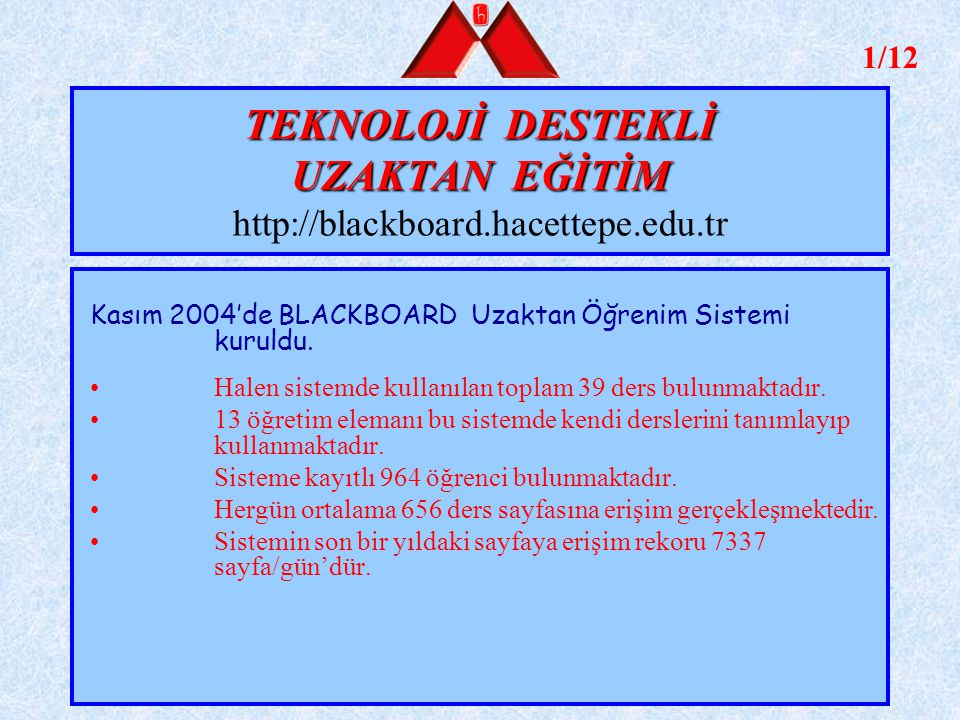 TEKNOLOJİ DESTEKLİ UZAKTAN EĞİTİM http://blackboard.hacettepe.edu.tr