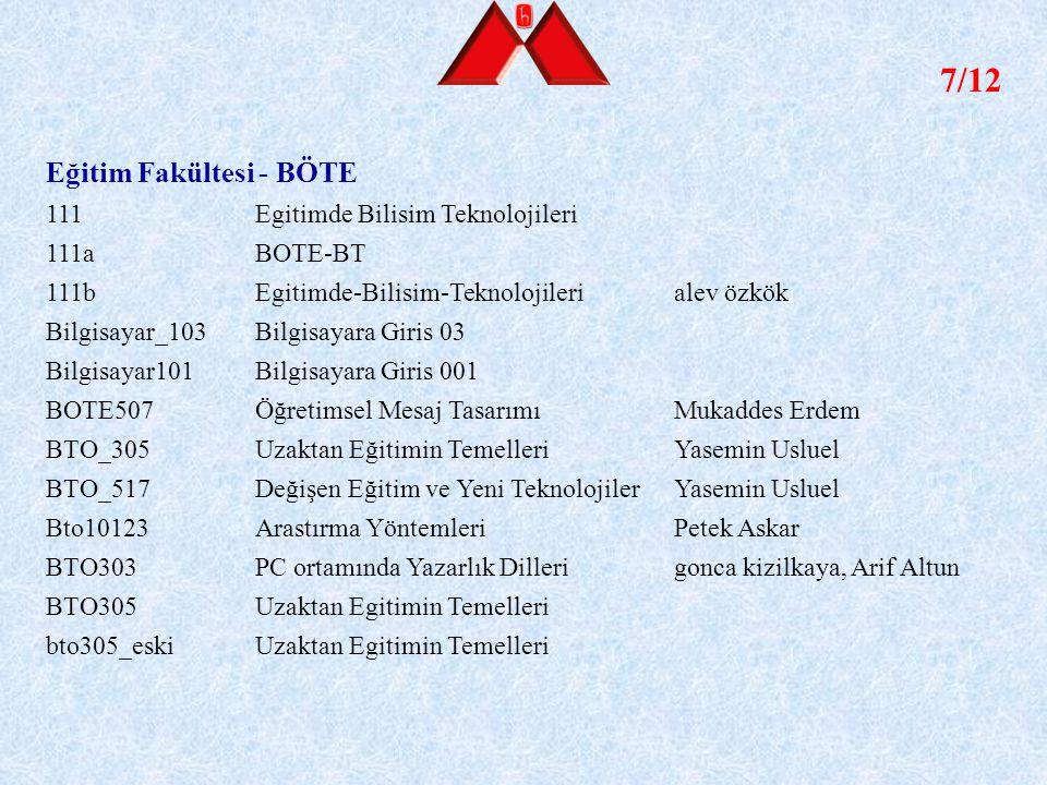 7/12 Eğitim Fakültesi - BÖTE 111 Egitimde Bilisim Teknolojileri