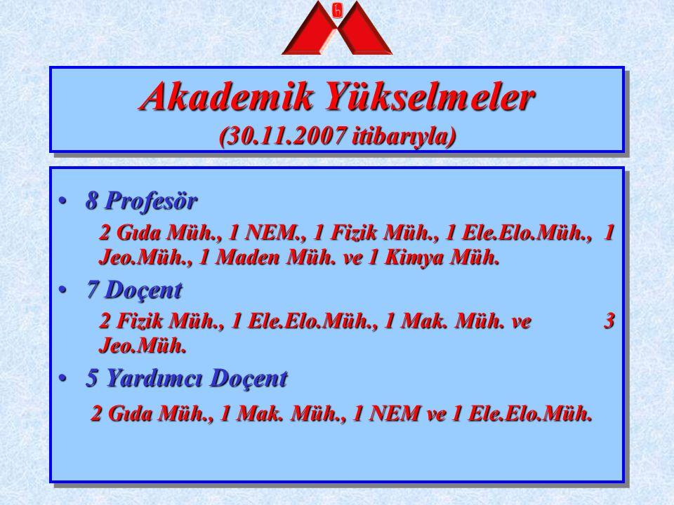 Akademik Yükselmeler (30.11.2007 itibarıyla)