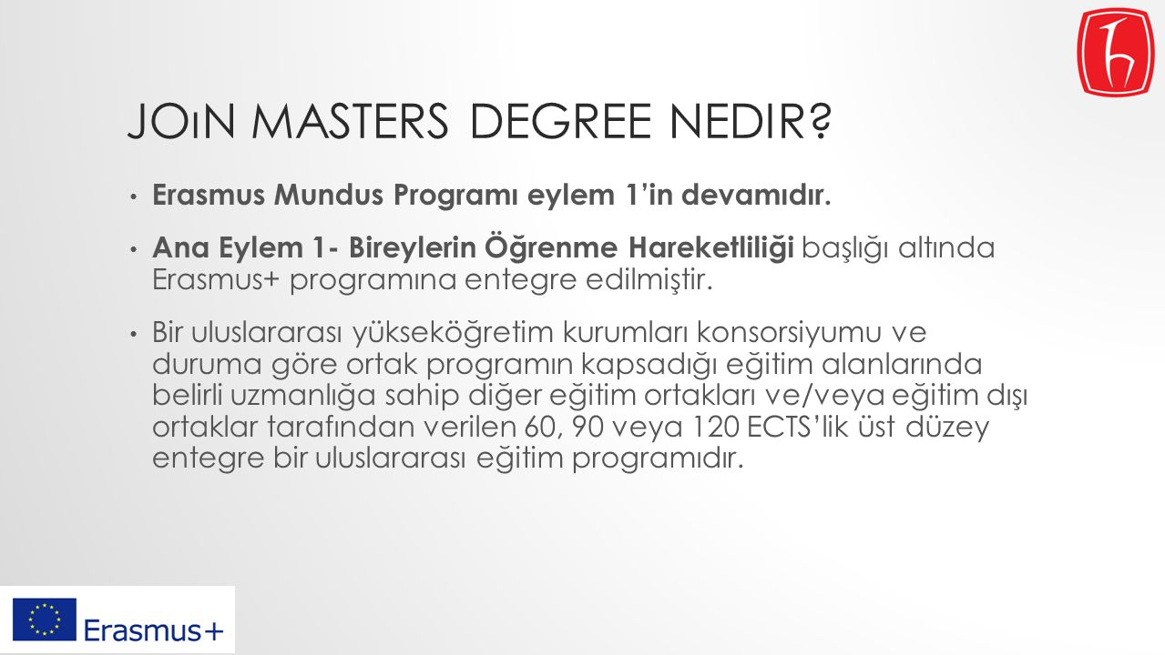 Joın masters degree nedir