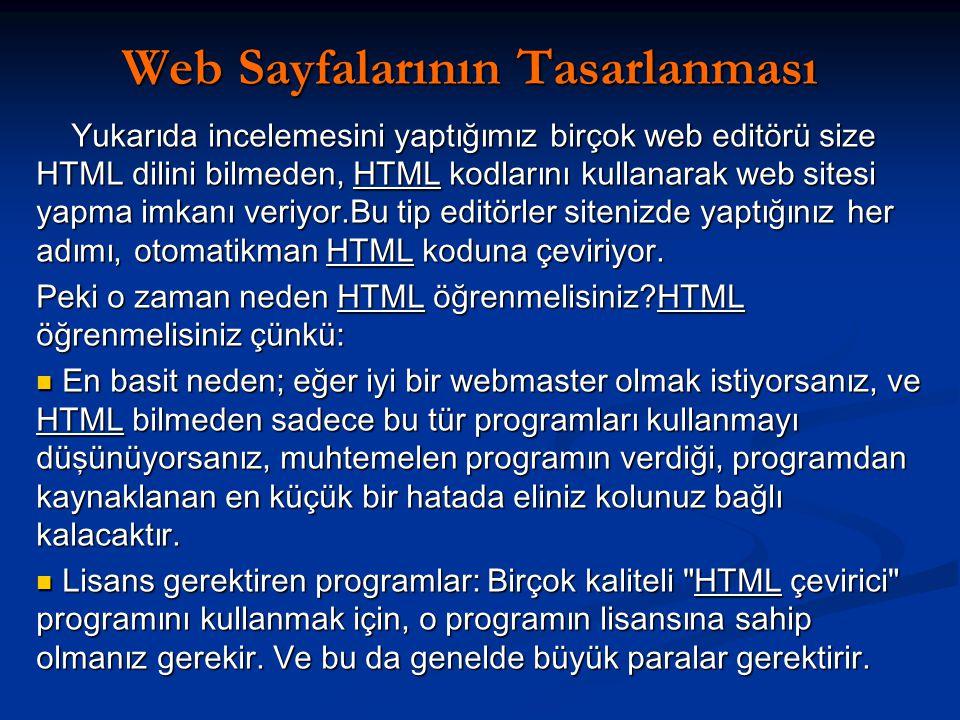 Web Sayfalarının Tasarlanması