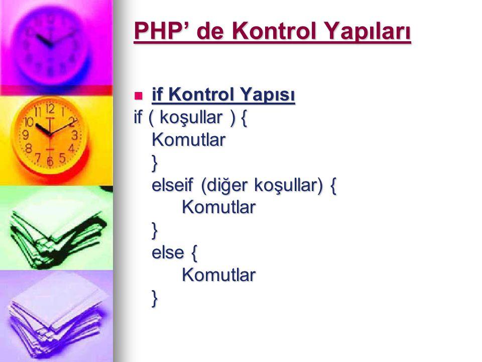 PHP' de Kontrol Yapıları