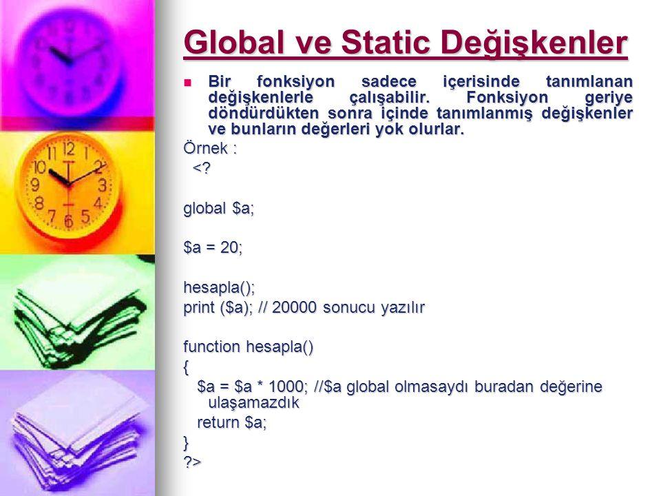 Global ve Static Değişkenler