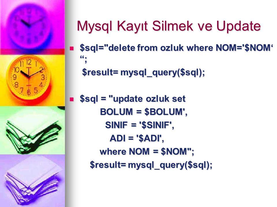 Mysql Kayıt Silmek ve Update