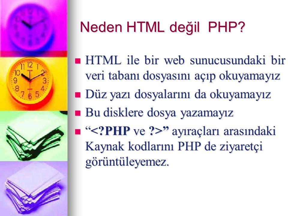 Neden HTML değil PHP HTML ile bir web sunucusundaki bir veri tabanı dosyasını açıp okuyamayız. Düz yazı dosyalarını da okuyamayız.