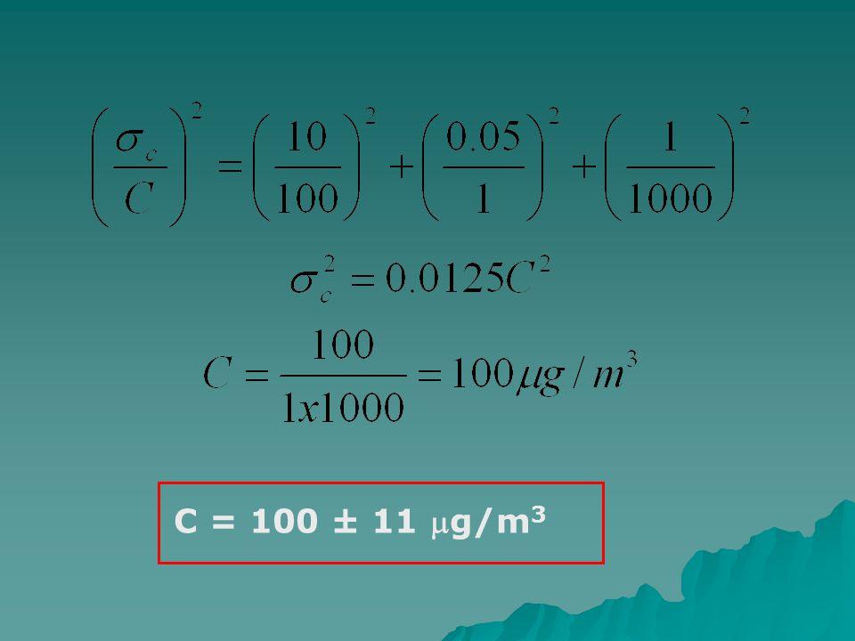 C = 100 ± 11 mg/m3