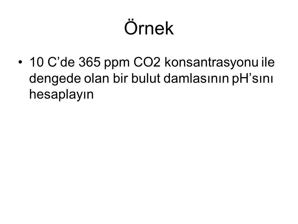 Örnek 10 C'de 365 ppm CO2 konsantrasyonu ile dengede olan bir bulut damlasının pH'sını hesaplayın