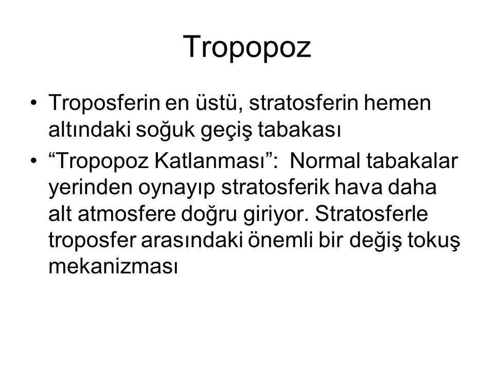 Tropopoz Troposferin en üstü, stratosferin hemen altındaki soğuk geçiş tabakası.
