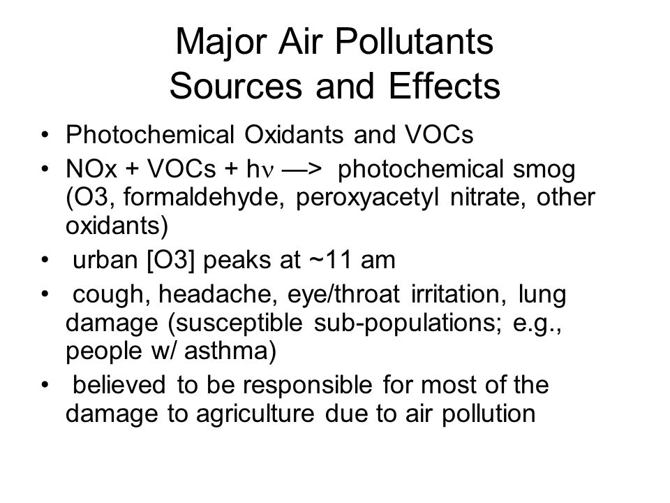 Major Air Pollutants Sources and Effects