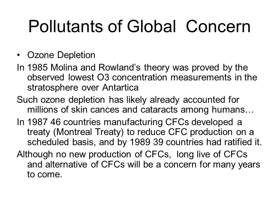 Pollutants of Global Concern