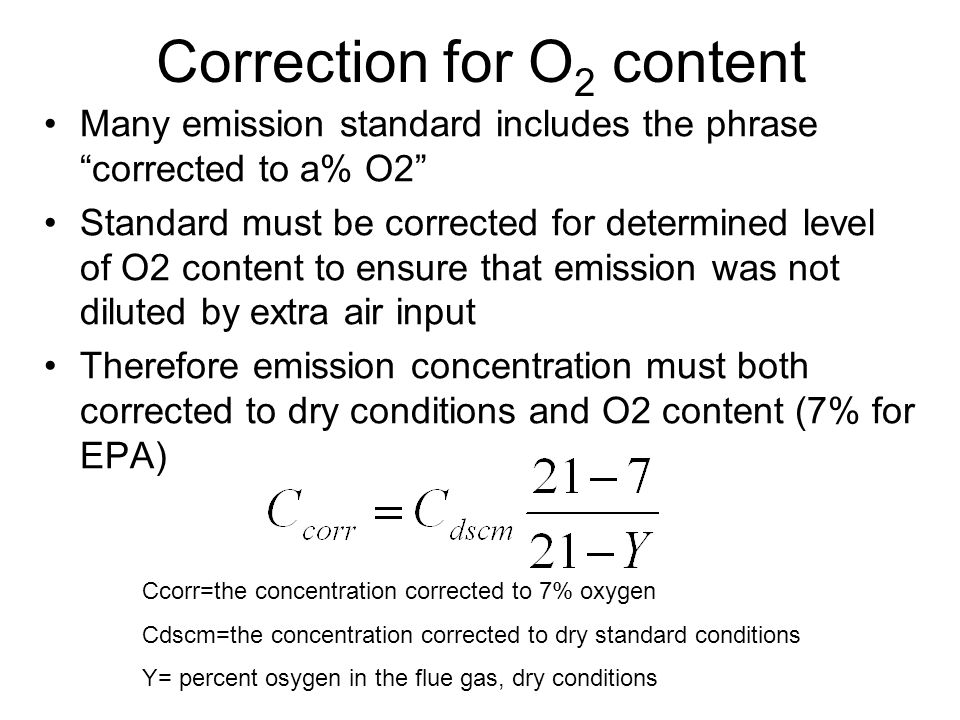 Correction for O2 content
