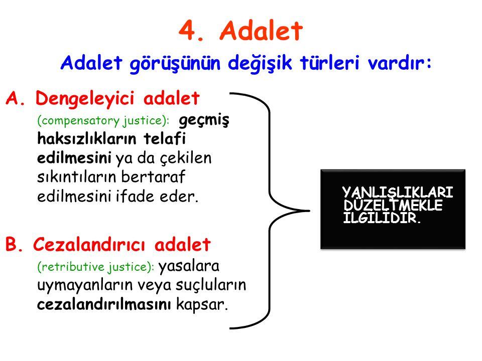 4. Adalet Adalet görüşünün değişik türleri vardır: