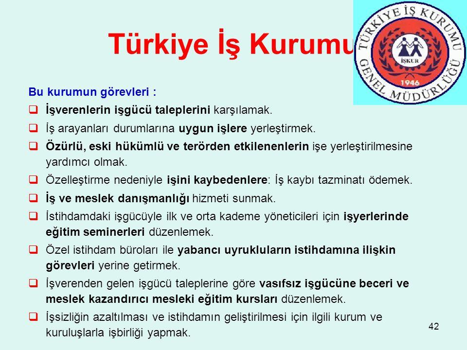 Türkiye İş Kurumu Bu kurumun görevleri :