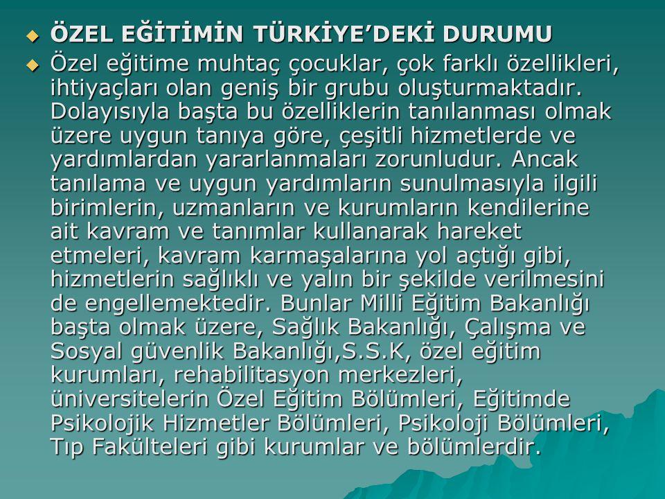 ÖZEL EĞİTİMİN TÜRKİYE'DEKİ DURUMU
