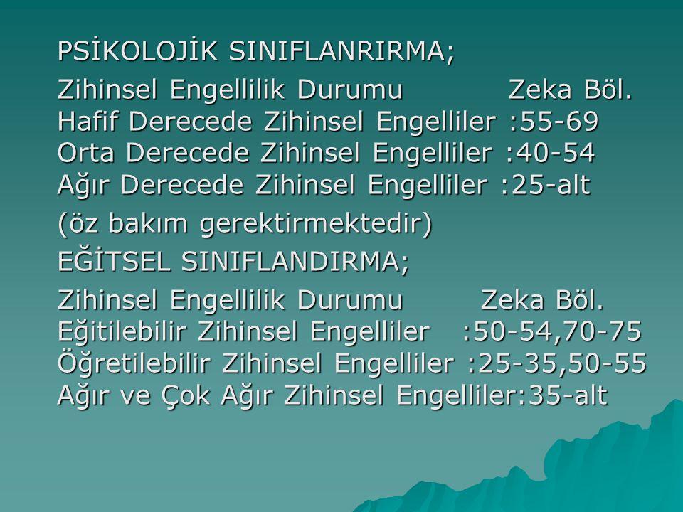 PSİKOLOJİK SINIFLANRIRMA;