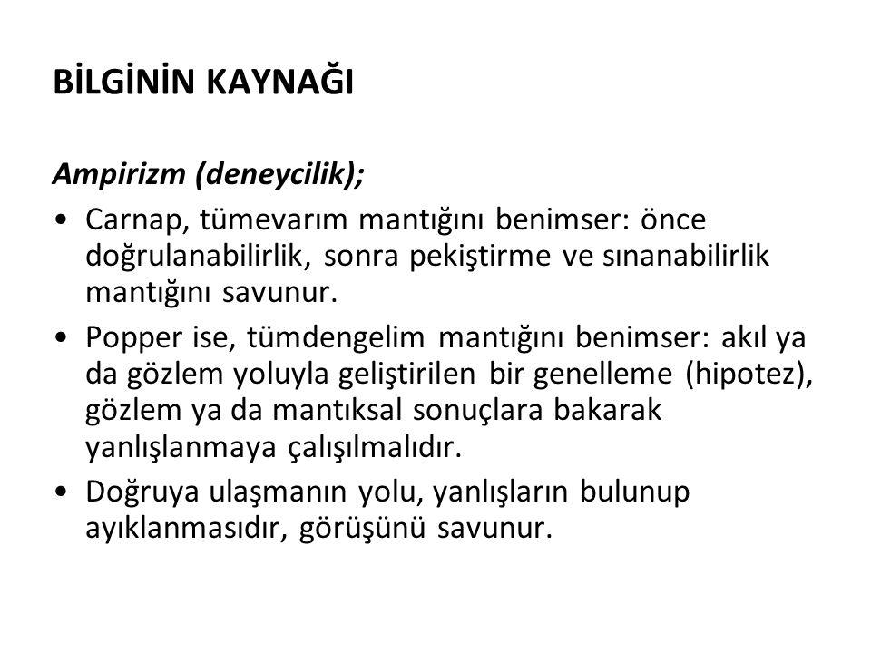 BİLGİNİN KAYNAĞI Ampirizm (deneycilik);