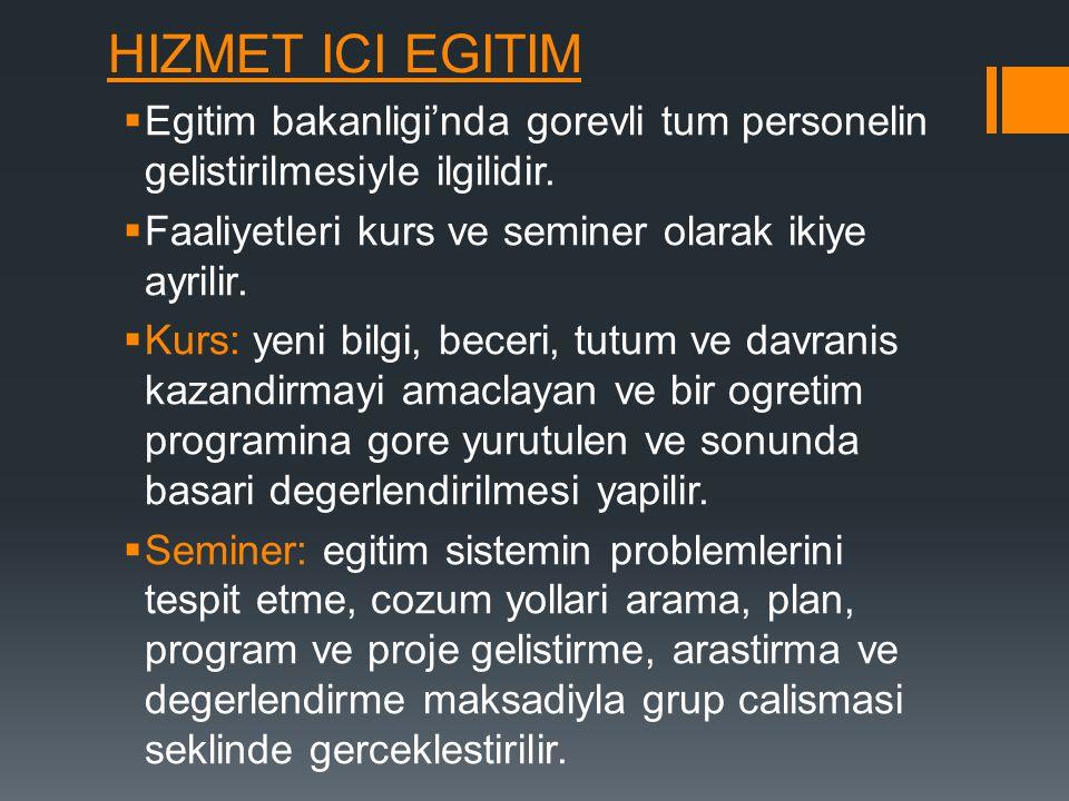 HIZMET ICI EGITIM Egitim bakanligi'nda gorevli tum personelin gelistirilmesiyle ilgilidir. Faaliyetleri kurs ve seminer olarak ikiye ayrilir.